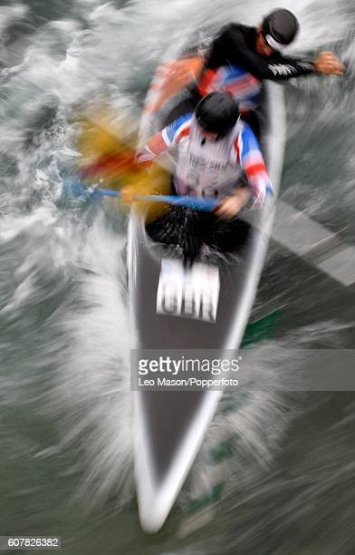 Kimberley Woods and Mallory Franklin compete in the C2 Womens Final British Canoeing 2016 British Open Slalom Championships at Lee Valley White Water...