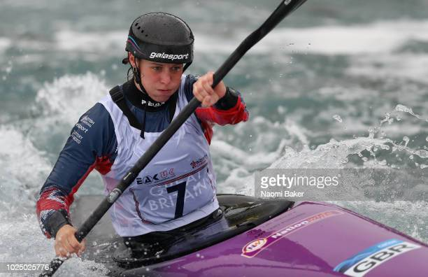 Kimberley Woods in action during the Media Day at Lee Valley White Water Centre on August 29, 2018 in London, England.