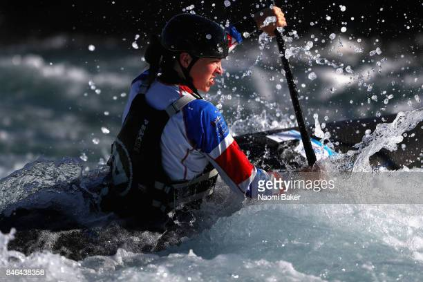 Kimberley Woods of Great Britain trains in the Canoe Single during training at Lee Valley White Water Centre on September 13, 2017 in London, England.
