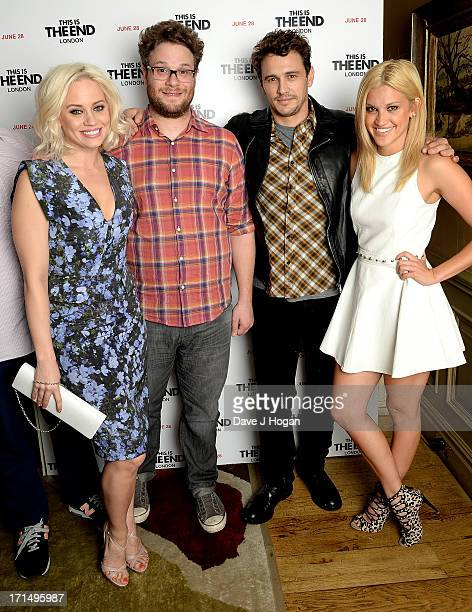 Kimberley Wyatt actors Seth Rogen James Franco and Ashley Roberts attend the 'This Is The End' Special Screening at the Charlotte Street Hotel on...