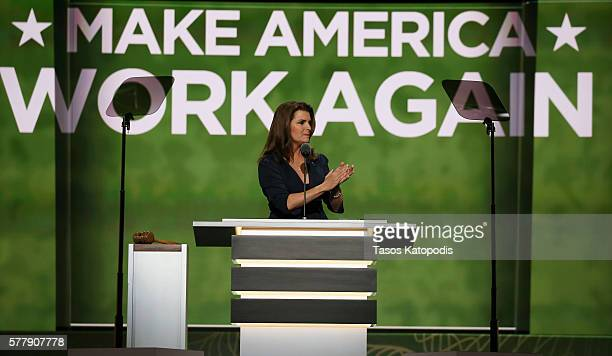 Kimberlin Brown speaks at the second day of the Republican National Convention on July 19 2016 at the Quicken Loans Arena in Cleveland Ohio An...