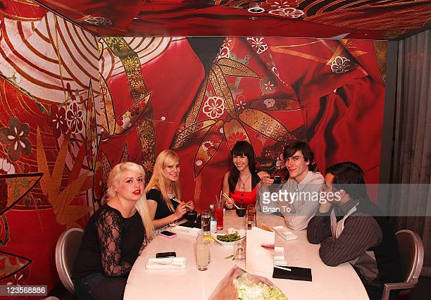 Kimberlina Paramo Angela Marie Playboy's 2011 Playmate of the Year Claire Sinclair boyfriend Marston Hefner and Jorge Soriano celebrate Claire...