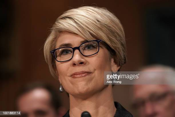 Kimberly A Reed testifies during a confirmation hearing before the Senate Committee on Banking Housing and Urban Affairs July 19 2018 on Capitol Hill...