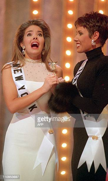 Kimberly Ann Pressler Miss New York takes the Miss USA crown 05 February at the conclusion of the 1999 Miss USA Pageant at The Grand Palace in...