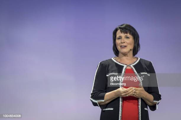 Kimberly Anstett chief information officer at The Nielsen Co speaks during the company's Cloud Next '18 event in San Francisco California US on...