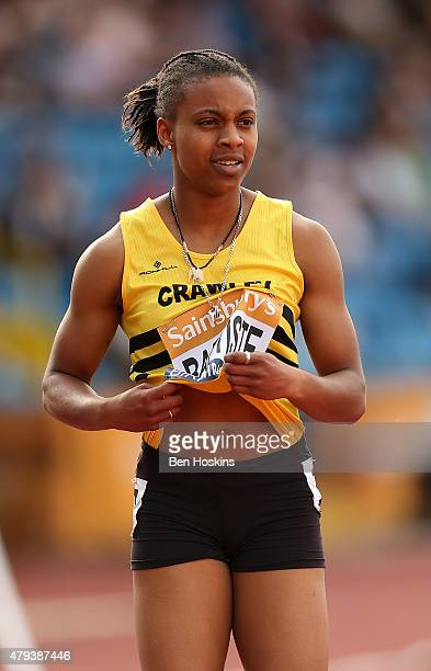 Kimberly Baptiste of Great Britain in action in her 200m heat during day one of the Sainsbury's British Championships at Birmingham Alexander Stadium...