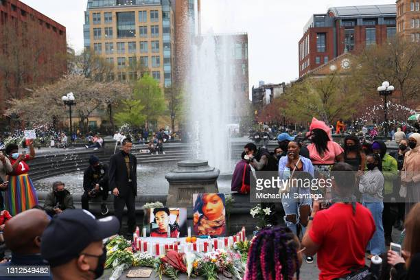 Kimberly Bernard speaks during a vigil for Daunte Wright and Dominique Lucious at Washington Square Park in Manhattan on April 14, 2021 in New York...