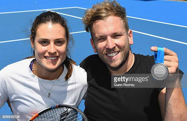 Kimberly Birrell and Newcombe medal winner Dylan Alcott pose during a media opportunity at Melbourne Park on November 29 2016 in Melbourne Australia