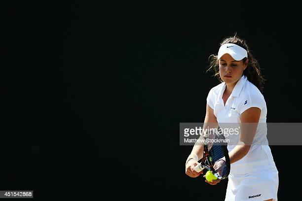 Kimberly Birrell of Australia during her Girls' Singles first round match against Helen Ploskina of Ukraine on day eight of the Wimbledon Lawn Tennis...