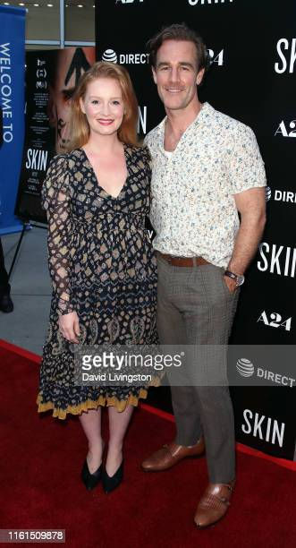 """Kimberly Brook and James Van Der Beek attend the LA Special Screening of A24's """"Skin"""" at ArcLight Hollywood on July 11, 2019 in Hollywood, California."""