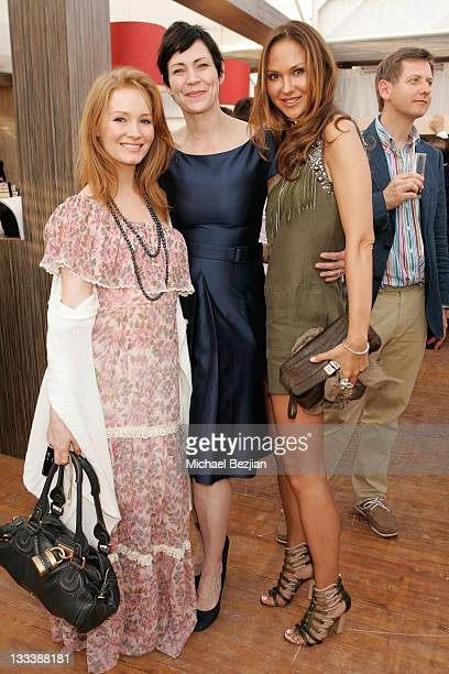 Kimberly Brook President of Bold International Stephanie Denton and actress Svetlana Metkina attend the Bold Films Party at Century Beach during the...