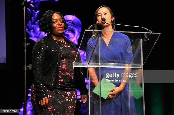 Kimberly Bryant Founder Black Girls Code and KimMai Cutler Writer TechCruch attend the TechCrunch 9th Annual Crunchies Awards at War Memorial Opera...
