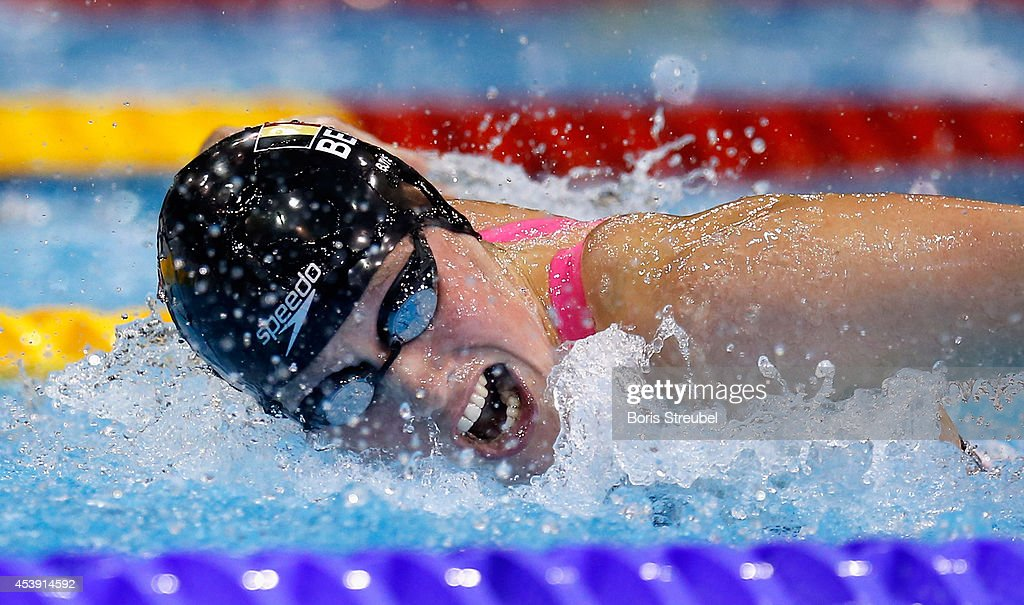 Kimberly Buys of Belgium competes in the women's 100m butterfly semifinals during day 9 of the 32nd LEN European Swimming Championships 2014 at Europa-Sportpark on August 21, 2014 in Berlin, Germany.
