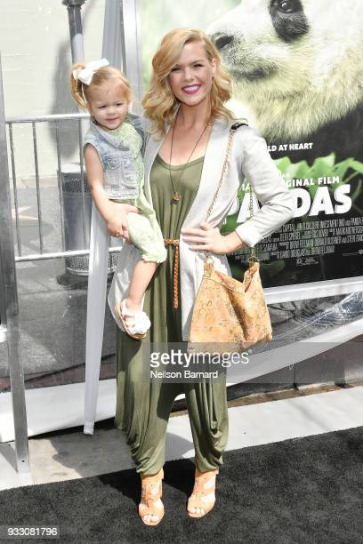Kimberly Caldwell poses with her daughter Harlow at the premiere of Warner Bros Pictures and IMAX Entertainment's 'Pandas' at TCL Chinese Theatre...