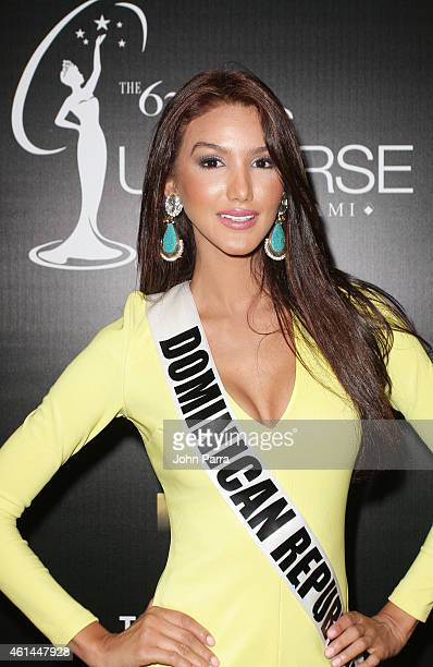 Kimberly Castillo from Costa Rica poses as Telemundo Introduces Miss Universe Contestants From Latin America And Spain at Trump National Doral on...