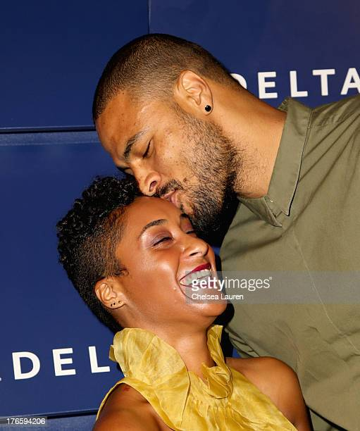 Kimberly Chandler and NBA player Tyson Chandler attend a summer celebration hosted by Delta Air Lines on August 15 2013 in Beverly Hills featuring...