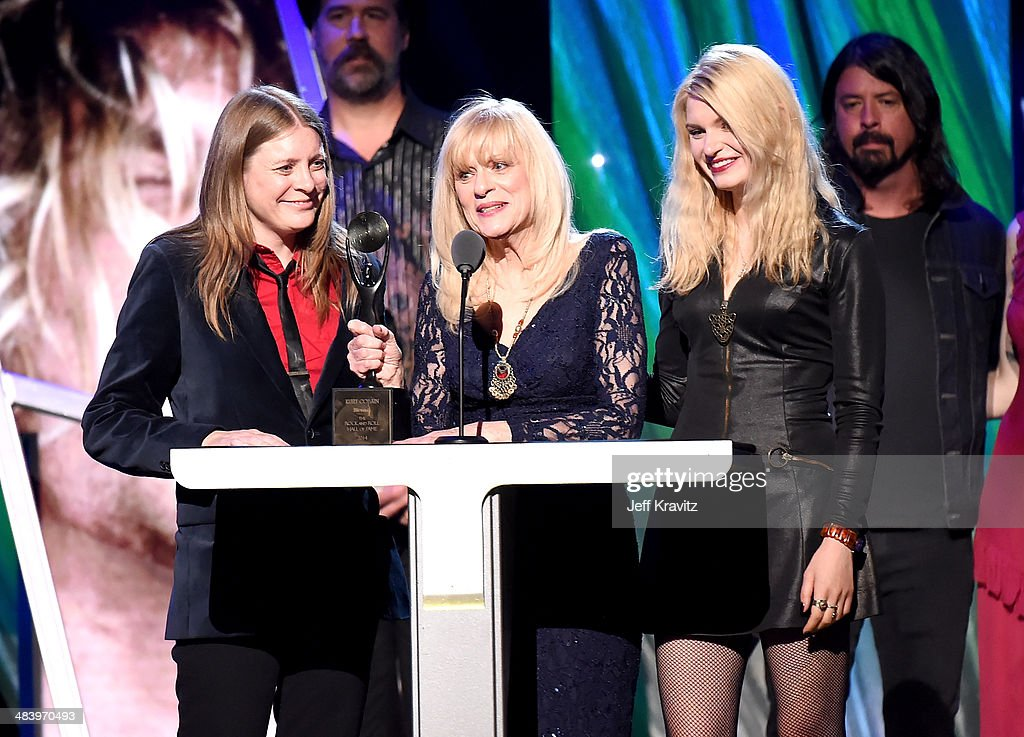 Kimberly Cobain (L) and Wendy O'Connor (C) honor Nirvana onstage at the 29th Annual Rock And Roll Hall Of Fame Induction Ceremony at Barclays Center of Brooklyn on April 10, 2014 in New York City.