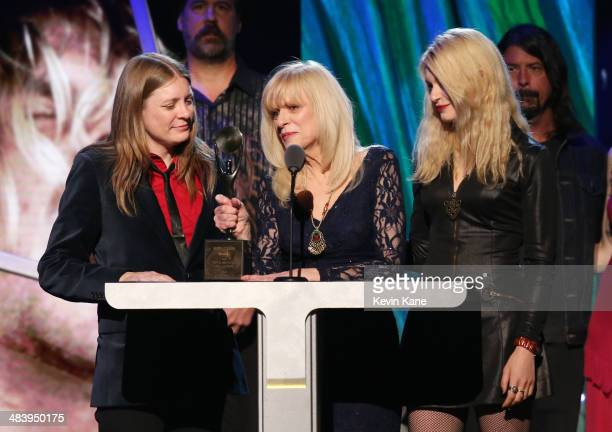 Kimberly Cobain and Wendy O'Connor speak onstage at the 29th Annual Rock And Roll Hall Of Fame Induction Ceremony at Barclays Center of Brooklyn on...