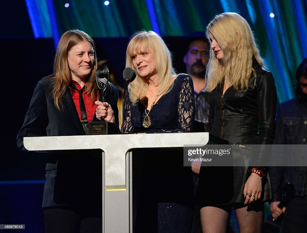 Kimberly Cobain and Wendy O'Connor speak onstage at the 29th Annual Rock And Roll Hall Of Fame Induction Ceremony at Barclays Center of Brooklyn on April 10, 2014 in New York City.