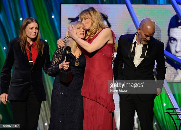 Kimberly Cobain Wendy O'Connor and Courtney Love onstage at the 29th Annual Rock And Roll Hall Of Fame Induction Ceremony at Barclays Center of...