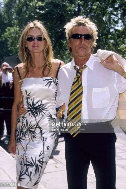Kimberly Conrad and Rod Stewart during Ivor Novello Awards at Grosvenor House Hotel in London Great Britain