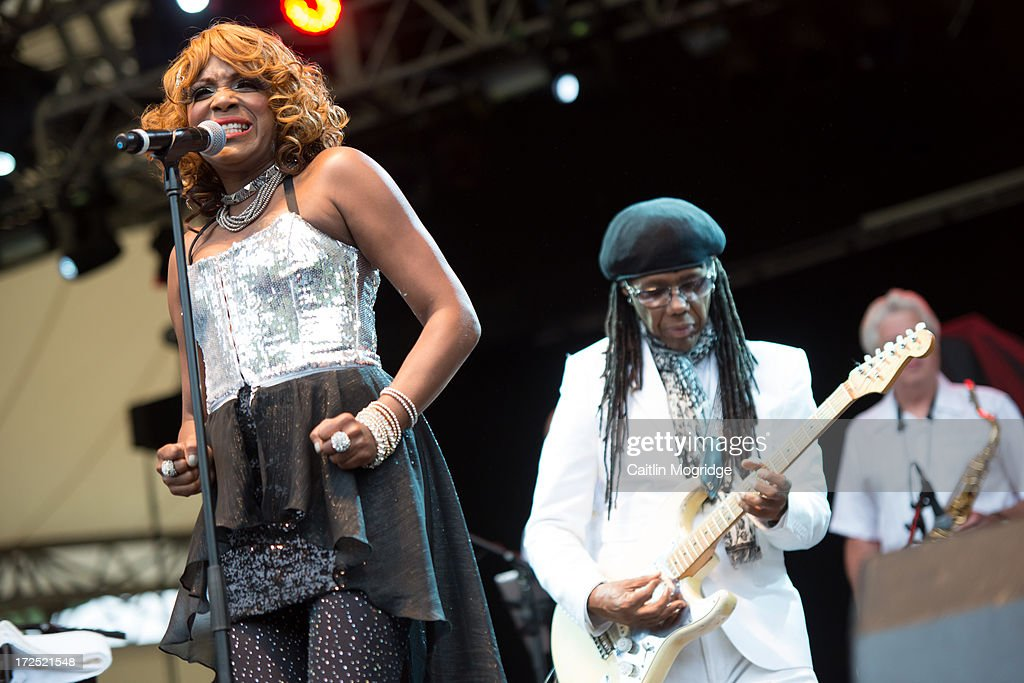 Kimberly Davis And Nile Rodgers Of Chic Perform On Stage At The Eden