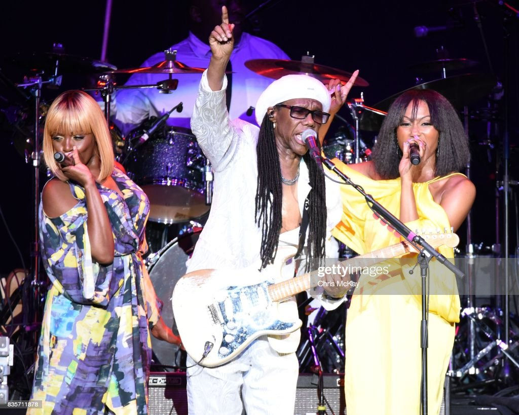 Kimberly Davis Nile Rodgers And Folami Ankoanda Of Chic Perform At