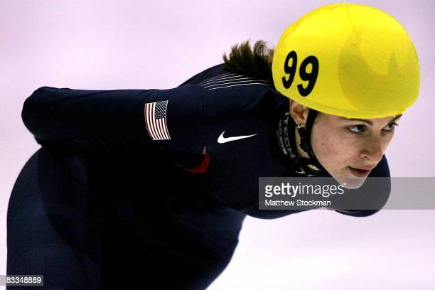 Kimberly Derrick competes in the 1500 meter B final during the Samsung ISU World Cup Short Track at the Utah Olympic Oval October 19 2008 in Salt...