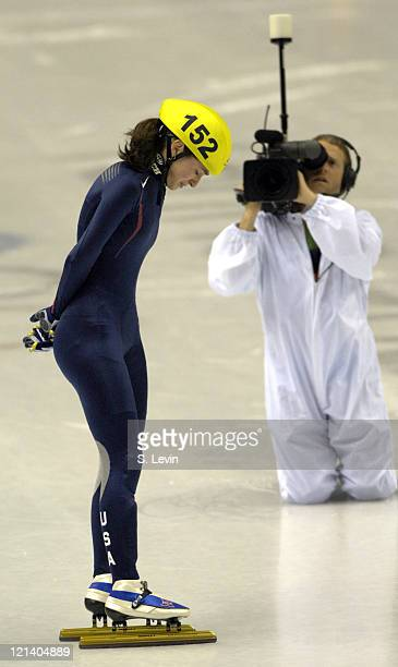 Kimberly Derrick of the United States during the Speed Skating Short Track Women's 1000 m race at the 2006 Olympic Games held at the Palavela in...