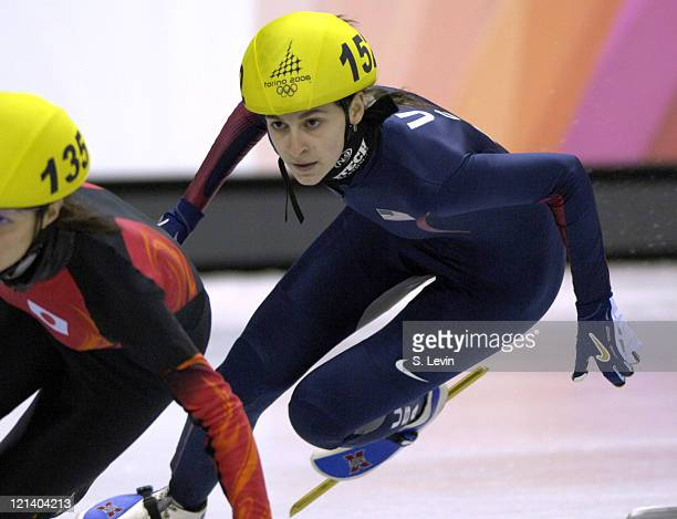Kimberly Derrick of the United States during the Women's 1000 m in the 2006 Winter Olympic Games at the Palavela in Torino Italy on February 22 2006