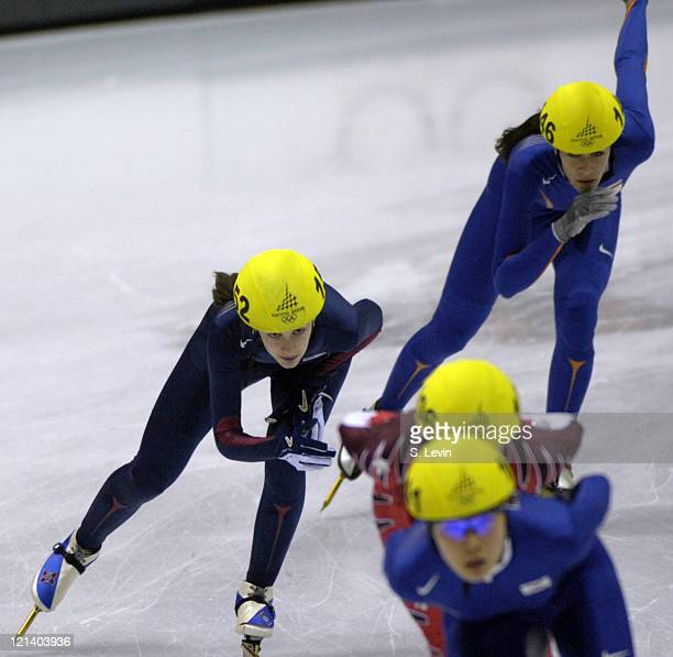 Kimberly Derrick of the United States in action during the Speed Skating Short Track Women's 1000 m race at the 2006 Olympic Games held at the...