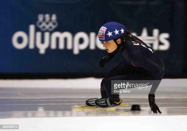 Kimberly Derrick skates during the Women's 500 Meter at US Short Track Speedskating Championships at the Berry Events Center on September 9 2009 in...