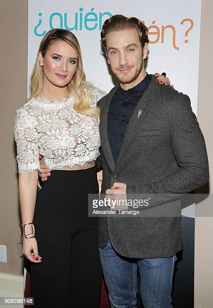 Kimberly Dos Ramos and Eugenio Siller are seen at the premier of Telemundo's Quien es Quien at the Four Seasons on February 9 2016 in Miami Florida