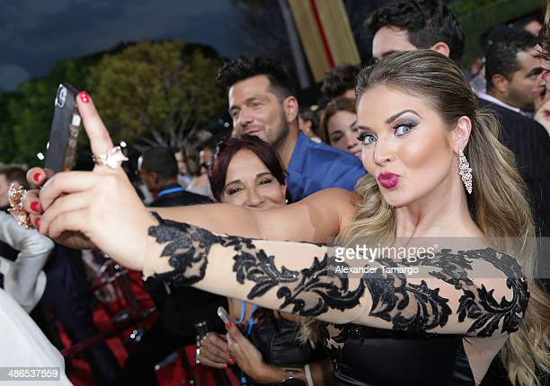 Kimberly dos Ramos arrives at the 2014 Billboard Latin Music Awards at Bank United Center on April 24 2014 in Miami Florida