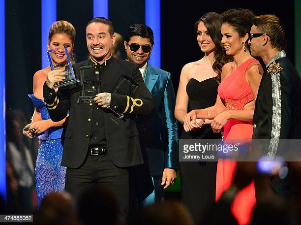 Kimberly Dos Ramos J Balvin and Plan B onstage during the 2015 Billboard Latin Music Awards presented by State Farm on Telemundo at Bank United...