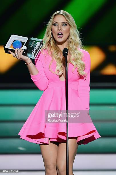 Kimberly Dos Ramos performs onstage at Telemundo's Premios Tu Mundo Awards 2015 at American Airlines Arena on August 20 2015 in Miami Florida