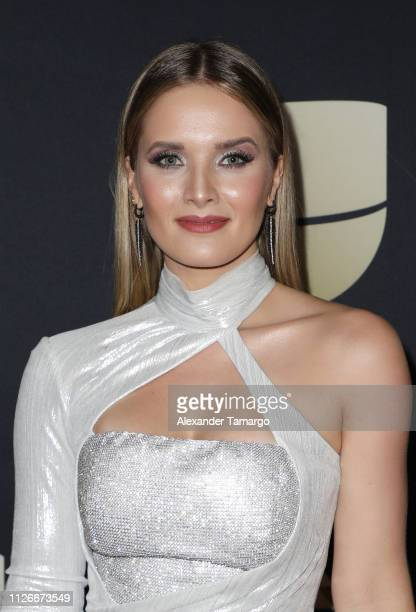 Kimberly dos Ramos poses in the press room at Univision's 31st Edition Of Premio Lo Nuestro A La Musica Latina at American Airlines Arena on February...
