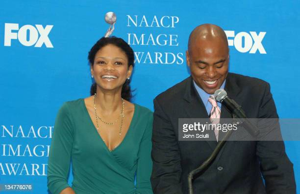 Kimberly Elise and Kevin Frazier during The 37th NAACP Image Awards Nominations Press Conference at Peninsula Beverly Hills Hotel in Beverly Hills...