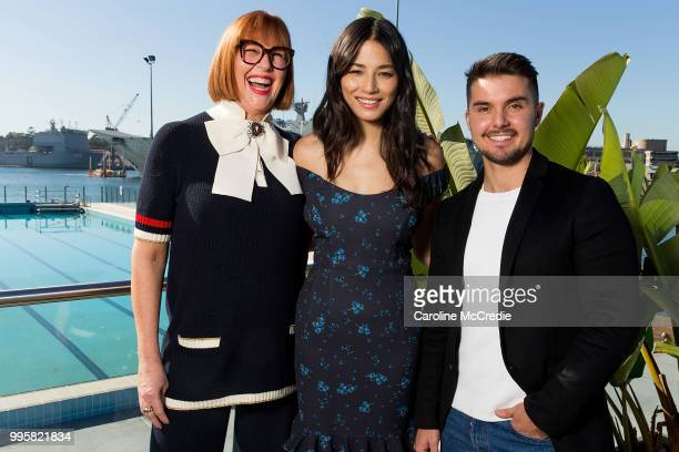 Kimberly Gardner Jessica Gomes and Johnny Schembri attend the David Jones Spring Summer 18 Collections Launch Model Castings on July 11 2018 in...
