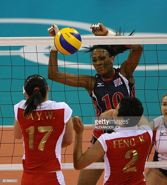 Kimberly Glass of the US plays against China during a Women's Preliminary Olympic Volleyball Pool B match at the Capital Gymnasium in Beijing on...