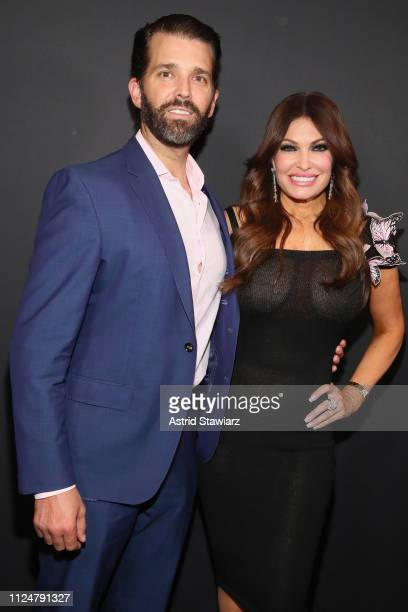 Kimberly Guilfoyle and Donald Trump Jr pose backstage for Zang Toi fashion show during New York Fashion Week The Shows at Gallery II at Spring...