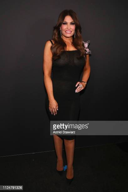 Kimberly Guilfoyle poses backstage for Zang Toi fashion show during New York Fashion Week The Shows at Gallery II at Spring Studios on February 13...