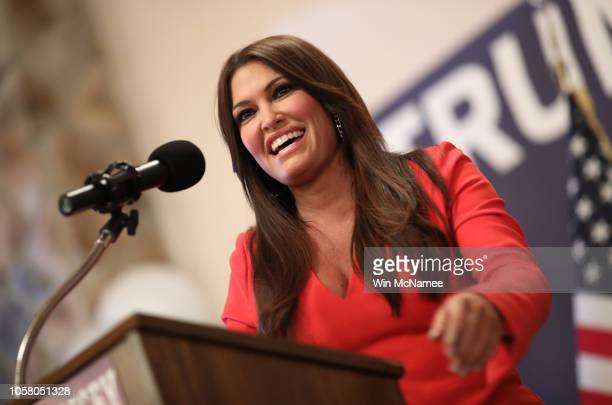 Kimberly Guilfoyle speaks to West Virginia voters at a campaign event for Republican US Senate candidate Patrick Morrisey October 22 2018 in Inwood...