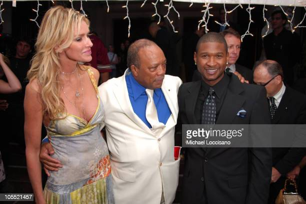 Kimberly Hefner Quincy Jones and Usher during Usher Hosts a Fundraiser for His New Look Foundation at Capitale in New York City New York United States