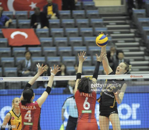 Kimberly Hill of Vakifbank Istanbul in action against Nana Iwasaka and Yuki Ishii of Hisamitsu Spring during the pool match of the FIVB Womens Club...