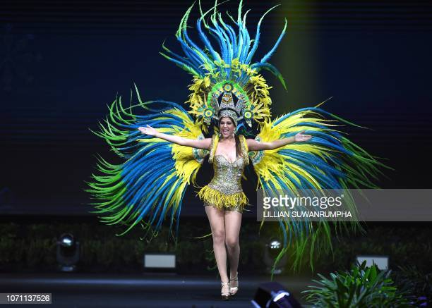 Kimberly Julsing Miss Aruba 2018 walks on stage during the 2018 Miss Universe national costume presentation in Chonburi province on December 10 2018
