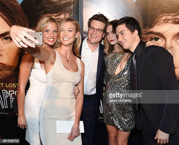 Kimberly Kloss Karlie Kloss John Green Cara Delevingne and Nat Wolff attend the New York premiere of Paper Towns at AMC Loews Lincoln Square on July...
