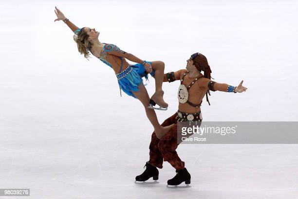 Kimberly Navarro and Brent Bommentre of USA compete in the Ice Dance Original Dance during the 2010 ISU World Figure Skating Championships on March...