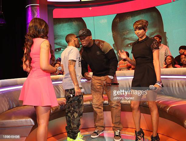 Kimberly 'Paigion' Walker Bow Wow 50 Cent and Miss Mykie visit BET's '106 Park' at BET Studios on January 17 2013 in New York City