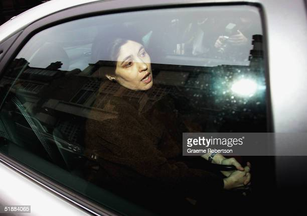 Kimberly Quinn sits in a car outside her home on December 21, 2004 in West London, England. Kimberley Quinn is the former lover of Home Secretary...